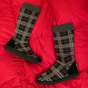 Ugg Plaid Cable Knit Boots